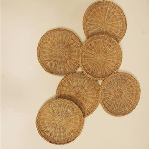 Vintage Accents - Set of 6 Vintage Boho Woven Plates